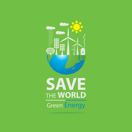 Vector banner on the theme of environmental protection and ecology of planet. Planet Earth, solar panels, wind turbines and words Safe the World, Green energy Ilustracja