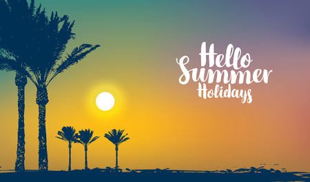 Vector travel banner with inscription Hello summer holidays. Tropical seascape with silhouettes of palm trees on the beach and colorful sky at sunset. Summer poster, flyer, invitation, card