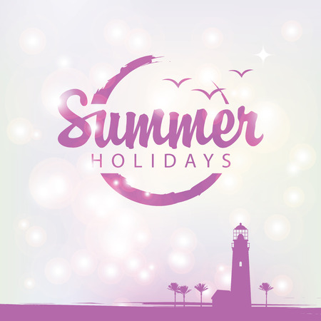 Travel banner with tropical seascape and words Summer holidays.