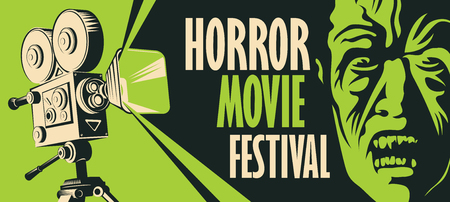 Vector banner for a festival horror movie. Illustration with old film projector and face of a creepy zombie. Scary cinema. Horror film night. Can be used for advertising, flyer, web design, tickets Stock Vector - 122797448