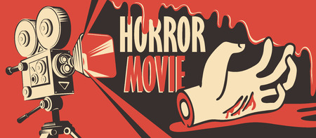 Vector banner for festival horror movie. Illustration with old film projector and a severed hand in a puddle of blood. Scary cinema. Horror film night. Can be used for ad, flyer, web design, tickets