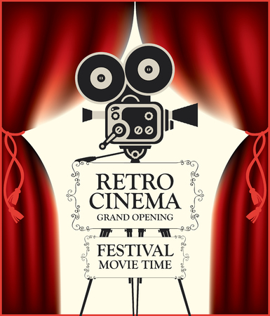 Vector poster for retro cinema movie festival with red Curtains and old fashioned movie camera on the tripod in vintage style. Can be used for banner, poster, web page, background. Grand opening Vettoriali
