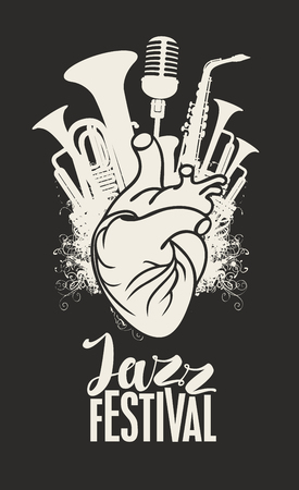 Music poster with human heart, wind instruments and microphone.