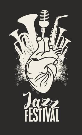 Plakat muzyczny z ludzkim sercem, instrumentami dętymi i mikrofonem.