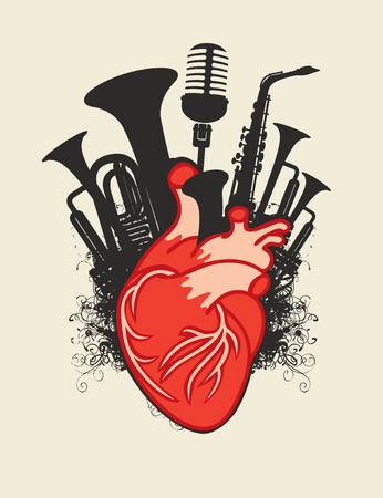 Music poster with red human heart and black silhouettes of wind instruments and microphone. Иллюстрация