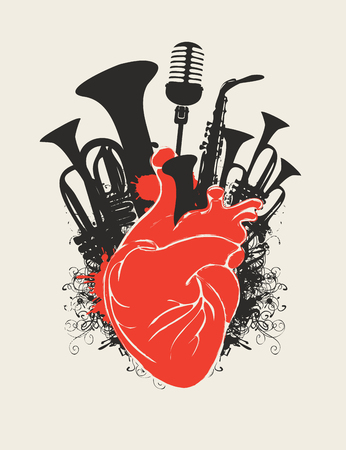Vector music poster with red human heart and black silhouettes of wind instruments and microphone. Abstract musical illustration in retro style. Music in the heart, musical orchestral instruments.