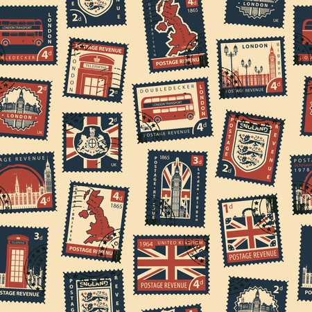 Retro Postage Seamless Background. Vector seamless pattern on UK and London theme with postage stamps and postmarks in retro style. Can be used as wallpaper, wrapping paper or fabric