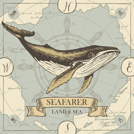 Vector banner with big hand-drawn whale on the background of old map and steering wheel in retro style. Illustration on the theme of travel, adventure and discovery with words Seafarer, Land and sea