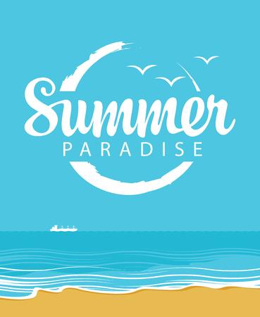 Bannière de voyage de vecteur avec le paysage marin et les mots Paradis d'été. Illustration avec plage, mer calme et bateau blanc. Affiche, flyer, invitation ou carte d'été Vecteurs