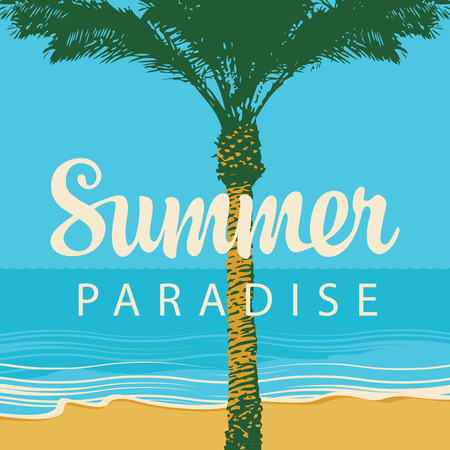 Vector travel banner with words Summer Paradise. Tropical landscape with palm tree on the beach and calm sea. Summer poster, flyer, invitation, card