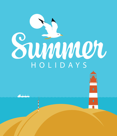Vector travel banner with seascape and words Summer holidays. Illustration with lighthouse on the hill, seagull in the sky and white ship in the sea. Summer poster, flyer, invitation or card Ilustrace