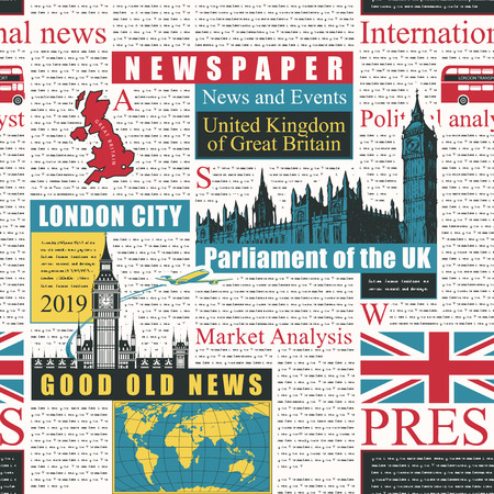 Vector seamless pattern with UK or London newspaper. Page of newspaper or magazine with colored headings, illustrations and black unreadable text. Can be used as wallpaper, wrapping paper or fabric  イラスト・ベクター素材