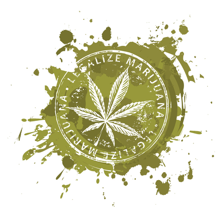 Vector banner for legalize marijuana with hemp leaf on abstract background in form of spots and splashes in grunge style. Natural product made from organic hemp. Smoking weed. Medical cannabis logo Ilustração