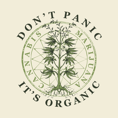Vector banner for legalize marijuana with words Do not panic, it is organic. Illustration with hand-drawn cannabis plant. Hemp, Cannabis or marijuana, medicinal plant. Smoking weed.