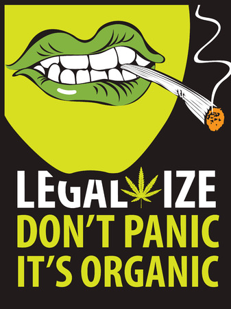 Vector banner for legalize marijuana with words Do not panic, it is organic. Illustration with a human face with a joint or a cigarette in his mouth. Smoking weed. Drug consumption