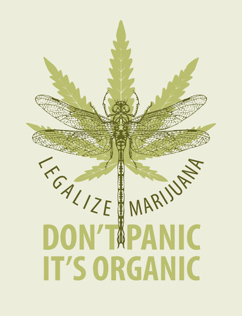 Vector banner for legalize marijuana with words Do not panic, it is organic. Illustration with cannabis leaf and dragonfly. Natural product of organic hemp, medicinal plant. Smoke weed.