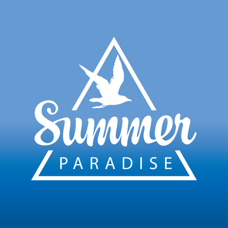 Vector travel banner or logo with seagull and the words Summer Paradise on the blue background. Summer poster, flyer, invitation or card