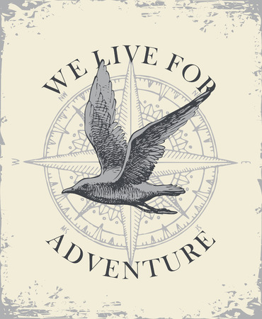 Retro banner with hand drawn seagull and wind rose with words We live for adventure. Vector illustration on the theme of travel, adventure and discovery on the background of old paper