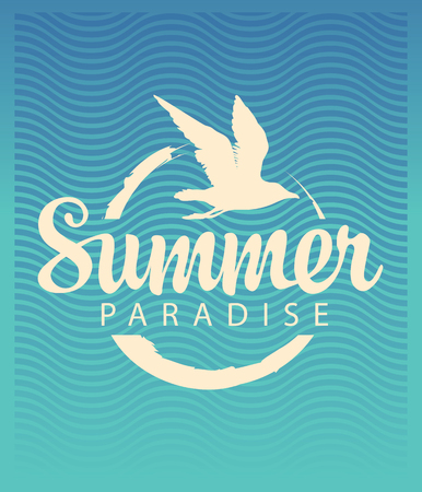 Vector travel banner or logo with seagull, sun and the words Summer Paradise on the old paper background. Summer poster, flyer, invitation or card
