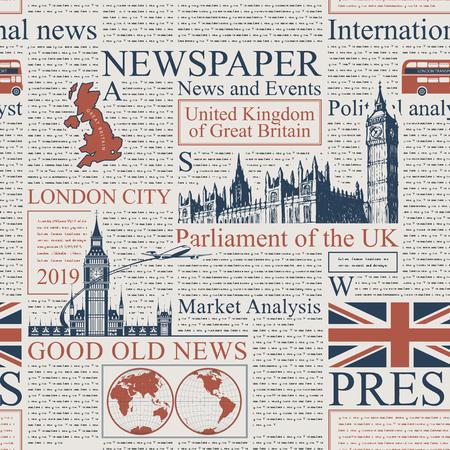 Vektornahtloses Muster mit britischer oder Londoner Zeitung. Seite einer Zeitung oder Zeitschrift mit Überschriften, Abbildungen und unlesbarem Text. Kann als Tapete, Geschenkpapier oder Stoff verwendet werden