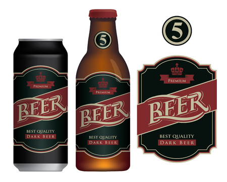 Vector label for dark beer in retro style on black background, decorated by crown and ribbon. Sample beer label on beer can and beer bottle Çizim