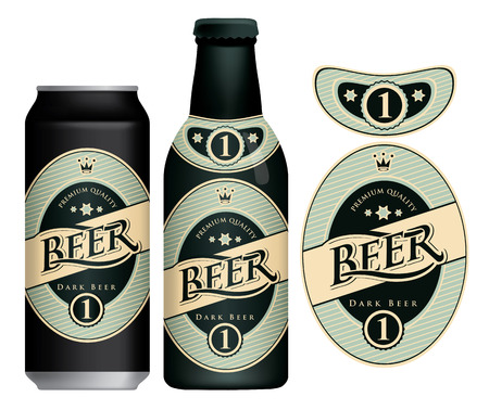 Vector label for dark beer in retro style, decorated by crown and stars in oval frame. Sample beer label on beer can and beer bottle