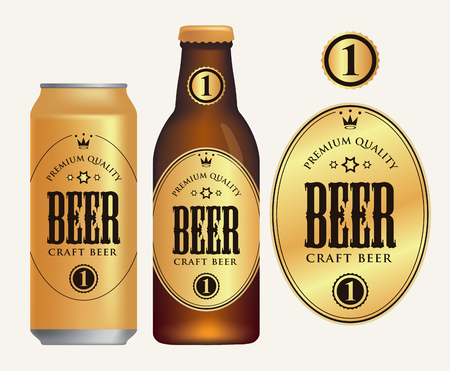 Vector label for craft beer in retro style on gold background, decorated by crown and stars in oval frame. Sample beer label on beer can and beer bottle Çizim
