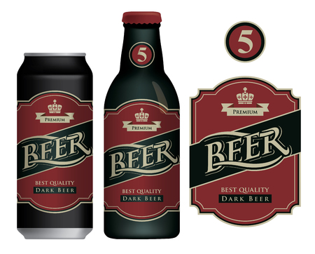 Label for dark beer in retro style on a dark red Illustration