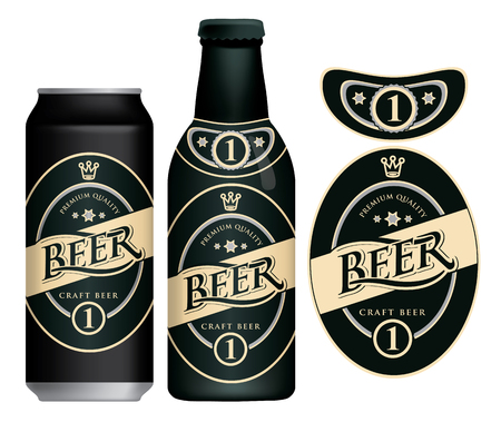 Vector label for craft beer in retro style, decorated by crown and stars in oval frame.