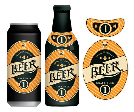 Label for craft beer in retro style, decorated by crown and stars in oval frame. Illustration
