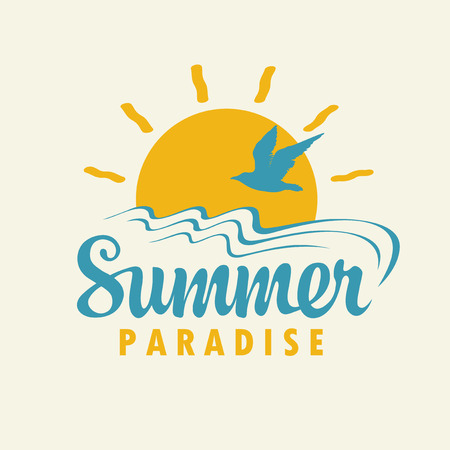 Vector banner with sun, gull and inscription Summer Paradise in retro style.