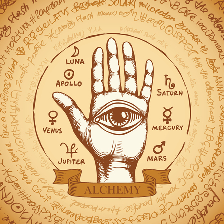 Vector illustration with open hand with all seeing eye symbol. Ilustracja