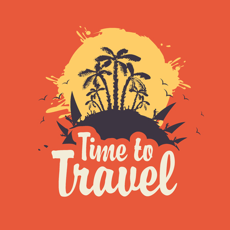 Vector tourist banner with sun, palm trees, surfers and calligraphic inscription Time to travel.