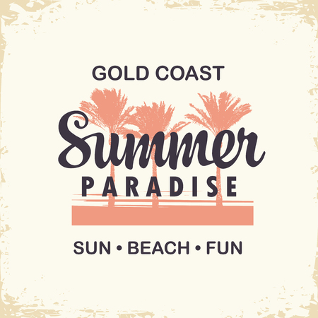 Vector travel banner or logo with palms trees and words Summer Paradise on the old paper Stok Fotoğraf - 123543282