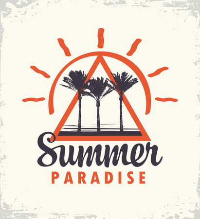 Vector travel banner or logo with palms trees and words Summer Paradise on the old paper Stok Fotoğraf - 123543290