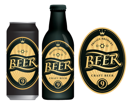 Vector label for craft beer in retro style, decorated by crown and stars in oval frame with golden rays. Çizim