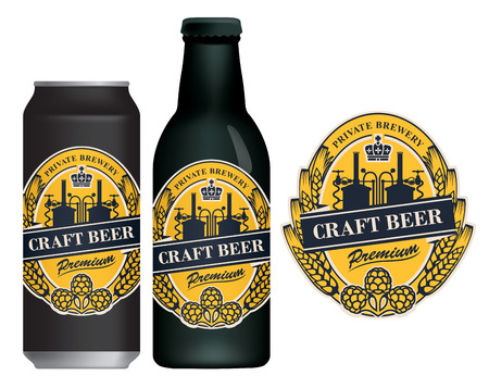 Vector label for craft beer in retro style, decorated by wheat or barley ears