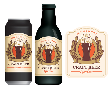 Vector label for craft beer with a overflowing glass of frothy beer