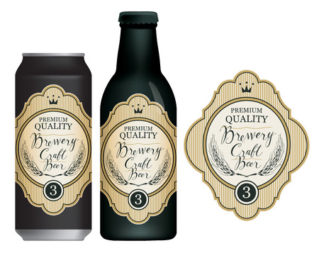 Vector label for craft beer in retro style, decorated by wheat or barley ears, crown and handwritten inscriptions on a light Çizim