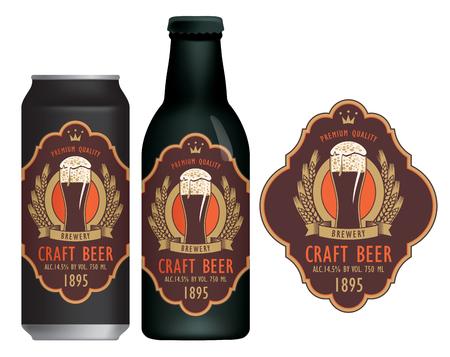 Vektoretikett für Craft Beer mit einem überfließenden Glas schaumigen Bieres, Wappen, Weizenähren und Band in figuriertem Rahmen im Retro-Stil.