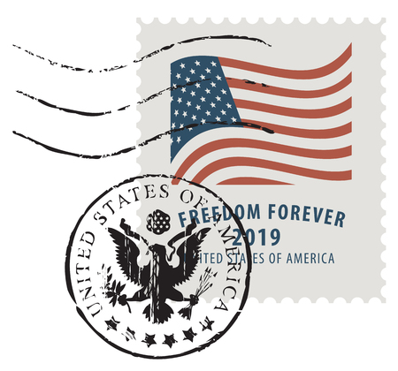 Vector illustration of a USA postage stamp in retro style with an american national flag and inscription Freedom forever.