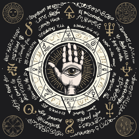 Vector illustration with open hand with all seeing eye symbol. Illustration