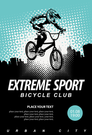 Vector banner or flyer with cyclist on the bike and words Extreme sport on the urban