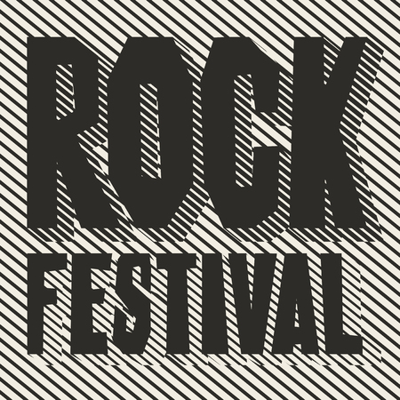 Vector poster or banner with words Rock Festival on the striped
