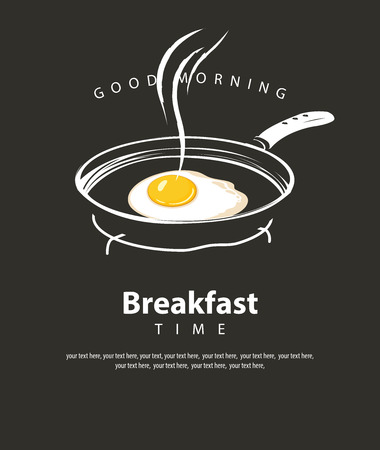 Banner on the theme of Breakfast time with a fried egg Sunny side up on a frying pan, with inscriptions and place for text in retro style on the black Archivio Fotografico - 125829932