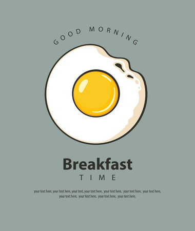 Banner on the theme of Breakfast time with fried egg Sunny side up, inscriptions and place for text on the grey  in retro style