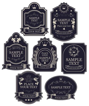 Set of vintage labels in black and silver colors, with crowns, ribbons, angels, curls, spikelets, in figured frames