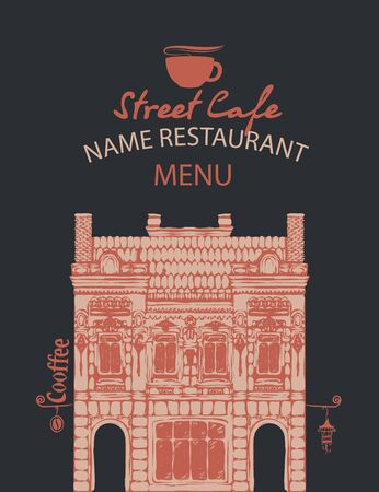 Menu for a street cafe or restaurant with a hand-drawn facade of an old building in retro style on a black