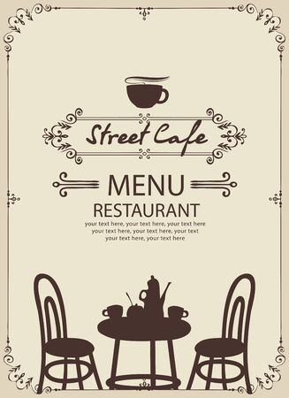 Menu for street cafe or restaurant with table set for two, chairs and tea in retro style with place for text in a figured frame