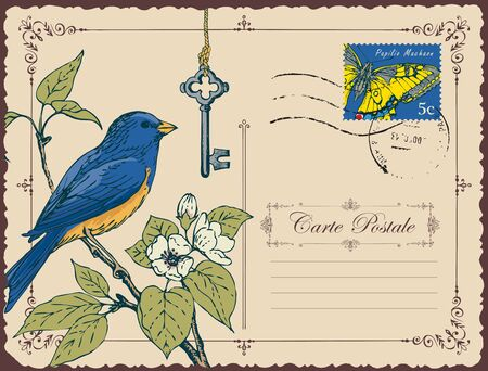 Greeting card or retro postcard with postage stamp and hand-drawn bird on branch of flowering tree.